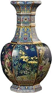 YWSZJ Vase en porcelaine en émail doré pastel 6 faces pour décoration artisanale Motif fleurs et oiseau