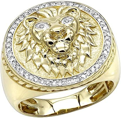 10K Solid Gold Lion Head Diamond Ring for Men Pinky Rings 0 3ctw Yellow Size 8 product image