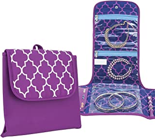 Travelon Folding Travel Jewelry Storage Cases Organizer Bag for Necklace Earrings Rings Bracelet Moroccan Print (Purple)