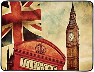 YOLIYANA London Utility Beach Mat,Vintage Style Symbols of London with National Flag UK Great Britain Old Clock Tower Decorative for Home,One Size
