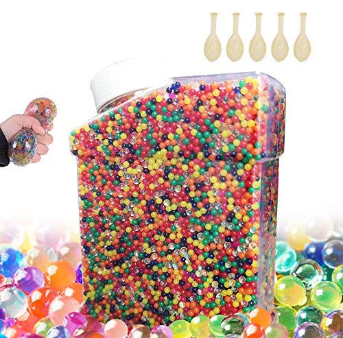 Meilo 50,000 PCS Bolas de Gel de Agua, Perlas de Gel para decoración, Plantas, Flores, Mezclados cristalino Hidrogel Bolas de Gel para Decoración(5 Globos Extra)