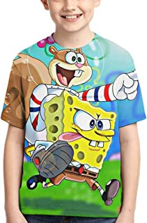 S-ponge-bob Children's 3D Printed Fashion Kids Boy Casual Round Neck Short-Sleeved T-Shirt Summer Tops Tee Black