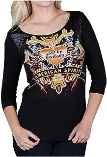 HARLEY-DAVIDSON Women's American Spirit Embellished 3/4 Sleeve Scoop Neck Top