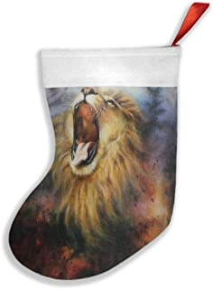 Monkeyhooo A Beautiful Airbrush Painting of A Roaring Lion On A Abstract Cosmical Christmas Stockings, Classic Personalized Large Stocking Decorations for Family Holiday Season Decor 10.2X16.5 inch