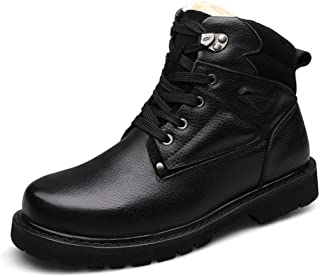 SHENYUAN Men's Work Boot Mid-high Top Boot Lace up Genuine Leather Vegan Thermal Metal Ring Decor Hand Sewing Round Toe Lug Sole Work or Casual Wear (Color : Black, Size : 48 EU)