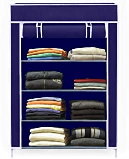 Keekos Collapsible Wardrobe Organizer, Storage Rack for Kids and Women, Clothes Cabinet, Bedroom Organiser with 4 Layer_Navyblue