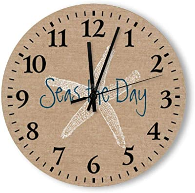 yyone New Funny Wall Clock - Seas The Day Decorative Round Wooden Wall Clock 10 Inch for Room, Office, Kitchen
