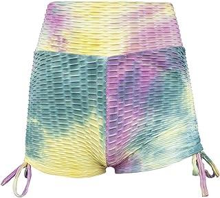 Summer Ladies Shorts Loose Casual Woman Hip High Waist Tie-Dye Printing Wrinkles Exercise Running Yoga