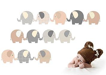 Wandtattoo Elefanten Neutral Wandaufkleber Furs Kinderzimmer Babyzimmer Baby Madchen Junge Von Jabalou Amazon De Baby