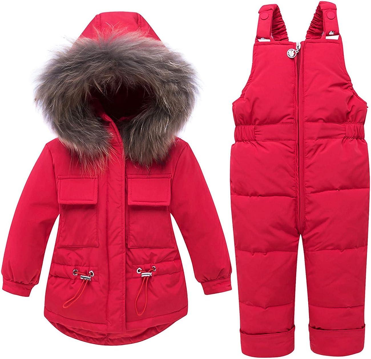REWANGOING Baby Girls Winter Warm Fur Trim Hooded Zipper Sweety Pocket Puffer Down Jacket Snowsuit with Ski Bib Pants Set