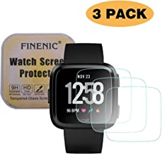 FINENIC Screen Protector Compatible with Fitbit Versa/Versa Lite Edition Smartwatch, Waterproof Tempered Glass Screen Protector [9H Hardness] [Crystal Clear] [Scratch Resist] [No-Bubble]【3 PCS】