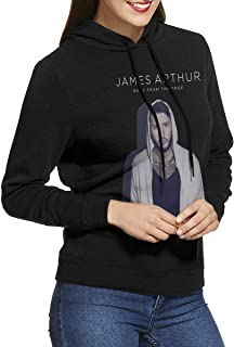 James Arthur Back from The Edge Women's Long Sleeve Casual Hooded Sweatshirt with Drawstring Black