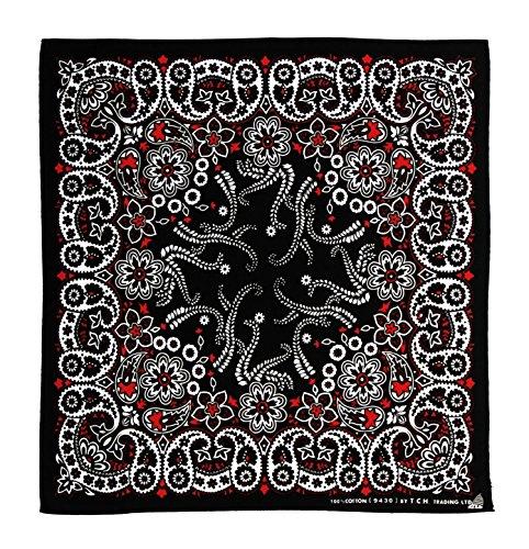Blanco y Negro Rojo Costura pañuelo Bandana Pañuelo