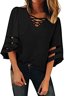 JOYFEEL Women's Casual 3/4 Bell Sleeve Criss Cross V Neck Blouses Mesh Panel Loose Patchwork Summer Shirts Tunic Tops