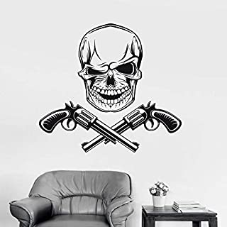 3D Wall Stickers Skull Guns Gangsters Vinyl Wall Stickers Personality Pattern Wall Decal Removable Wallpaper for Teens Bedroom Mural 57X89Cm