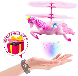 Hand-Control Flying Unicorn Helicopter & Drone Toy Gift for Girls Age 6 7 8 9-14 Years Old-Pack of Pink Mini Fairy Unicorn & Mysterious Gifts for Birthday Holiday Xmas Party Favor
