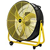 VENTISOL 24 Inch Energy Efficiency 120W Heavy Duty Drum Fan with Aluminum Blades 3 Speeds Powerful Airflow for...