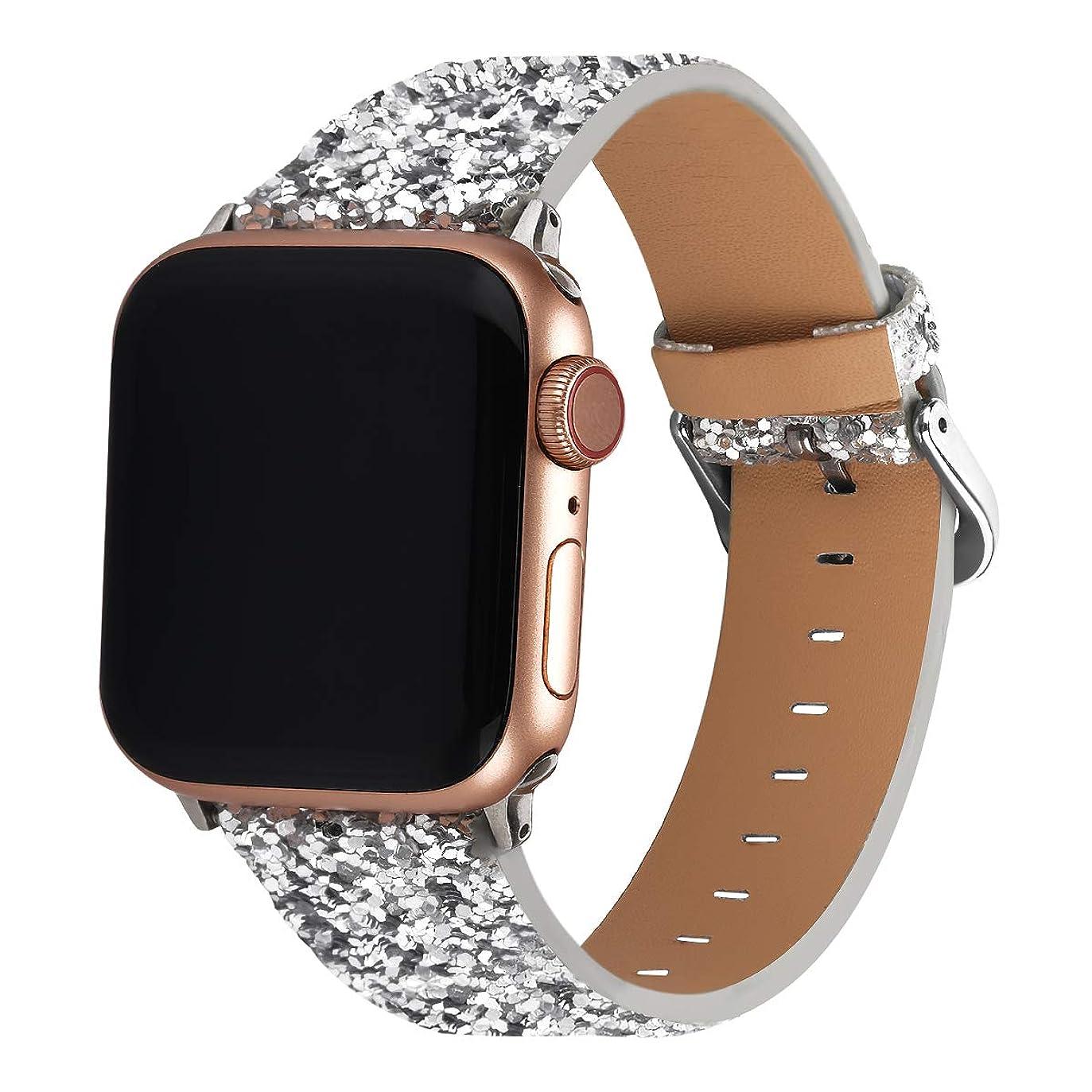 スキッパーガチョウ密輸Doweiss Apple Watch用バンド グリッター 38mm 40mm 42mm 44mm スパークル iWatch 交換用リストバンド Apple Watchシリーズ4/3/2/1対応