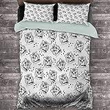 Toopeek - Juego de 3 fundas de edredón y 2 fundas de almohada (1 funda de edredón y 2 fundas de almohada), diseño de perro con hebilla y cuello monocromo de casa, poliéster, color negro y blanco