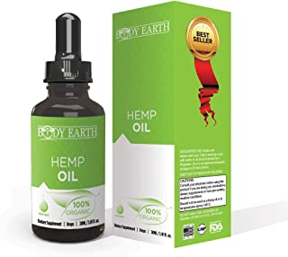 Organic Hemp Oil by Body Earth: Pain Relief, Natural Anti Inflammatory-Supports Stress and Anxiety-Improve Sleep, Healthy Joints, Heart, Brain Skin and Mood: Rich in MCT Fatty Acids Omega 3,6,9
