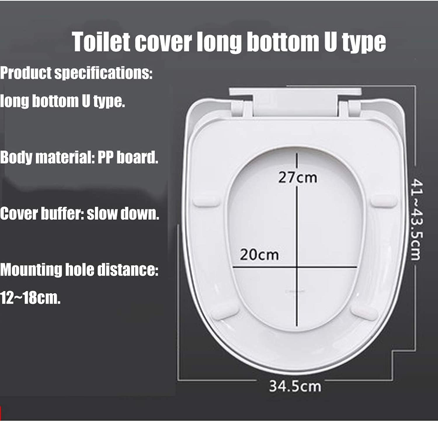 LHKJ Silent resin toilet seat stabilized hinge easy to install descending toilet seat (Size   A)