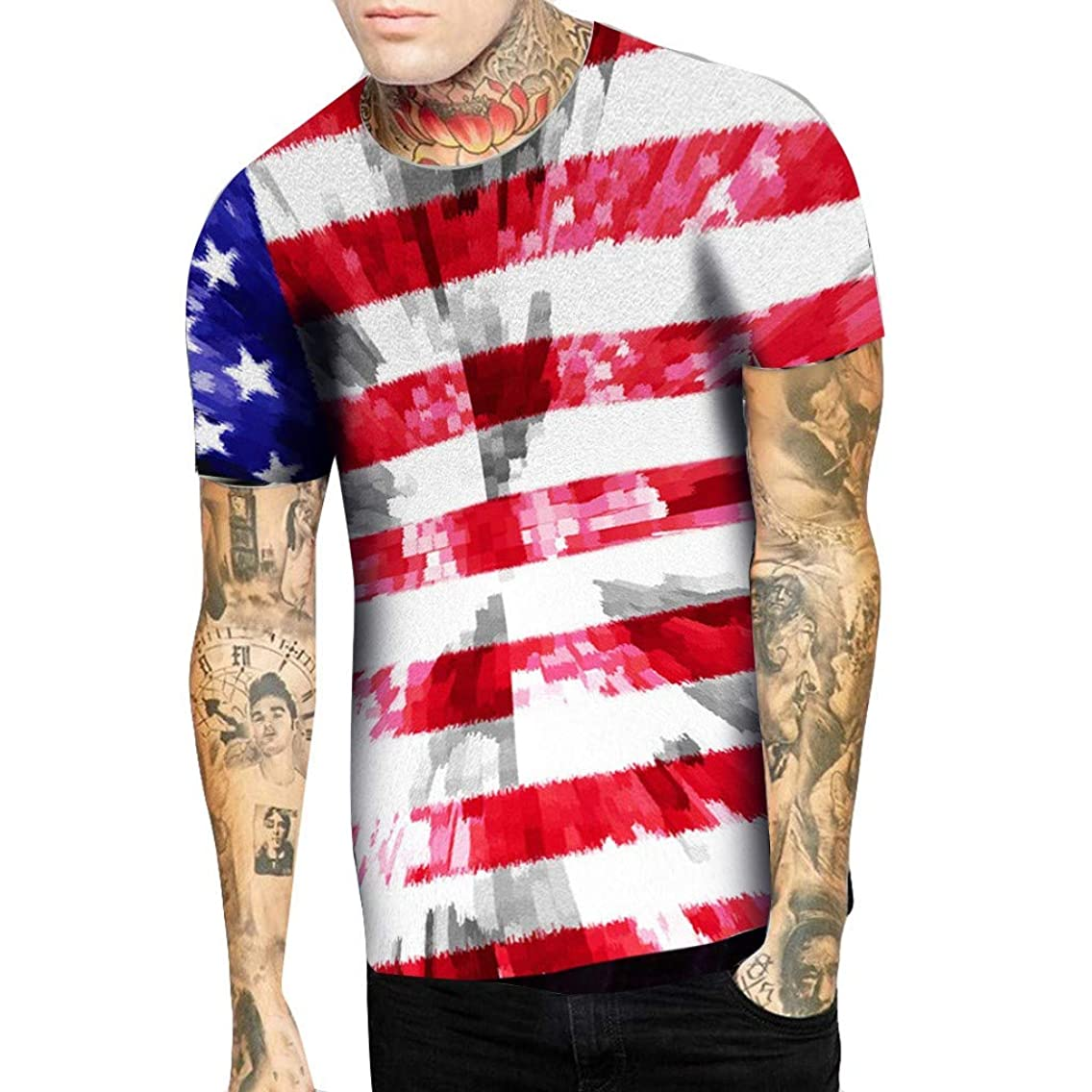 YOMXL Men's USA Flag T-Shirt Vintage Shirts Hipster Short Sleeve Crew Neck Tee Tops Independence Day T Shirt dchgayc27