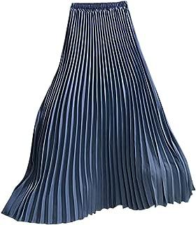 HENWERD Summer Womens Casual Solid Pleated Midi High Waisted Long Beach Maxi Skirt