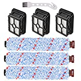 3 Pack Multi-Surface Brush Roll 1868 + 3 Pack Vacuum Filter 1866 Replacement for Bissell CrossWave Vacuum Cleaner, Compare to Part # 1608683, 160-8683, 1608684