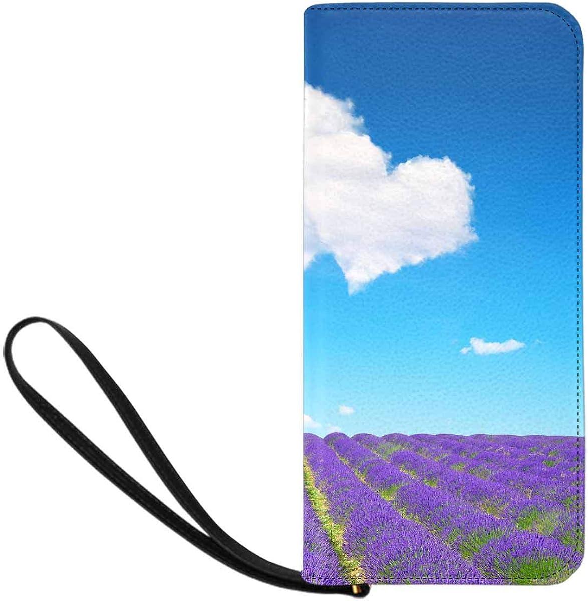 INTERESTPRINT Lavender Love Heart Clutch Wallet Handbag for Party Wedding