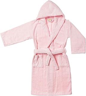 SUPERIOR Long-Staple Cotton Unisex Kids Hooded Bath Robe, Large,Pink