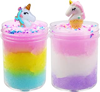 SWZY Unicorn Slime Kit Cloud Slime Putty Fluffy Cloud Slime Poopsie Slime Supplies Unicorn Surprise Slime Toy for Children and Adults(120ml 2 Pack)