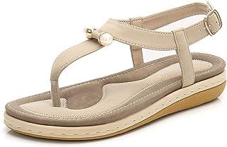 Summer Slippers Women Flat Sandals Open Toe Summer Lightweight Beach Pool Indoor Outdoor (Color : Apricot, Size : 41)