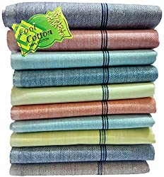 Fancyadda Mens Khadi Cotton Handkerchiefs (Pack of 10, Multi-Colored)