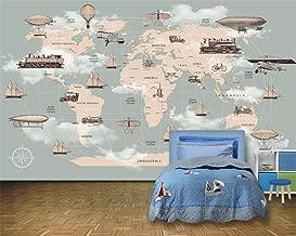 ZDBWJJ Custom Children Room Wall 3D Wallpaper Cartoon World map Hot air Balloon Sailboat Background Wall 3D Wallpaper-200cmx140cm