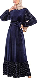 zhbotaolang Women Muslim Long Swing Dress - Ladies Lantern Sleeve Abaya Kaftan Velvet Cocktail Gown with Sashes