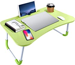Portable Laptop Bed Table, Fordable Lap Desk with Cup Slot & Notebook Stand Breakfast Bed Trays for Eating and Laptops Boo...