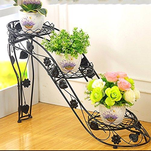 Porte-fleurs Support de fleur de fer à hauts talons, support de fleur multi-couche, étagère de fleur créative de balcon de salon d'intérieur et extérieur, pot vert de radis de trois (choix multicolore) Support de fleurs ( Couleur : Noir )