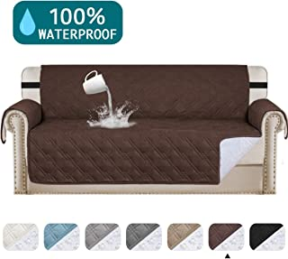 Waterproof Sofa Cover Protector for Living Room Deluxe Couch Cover Perfect for Leather Couch Sofa Protector Features Protect from Pets Wear and Tear (Oversize Sofa 78,Brown)