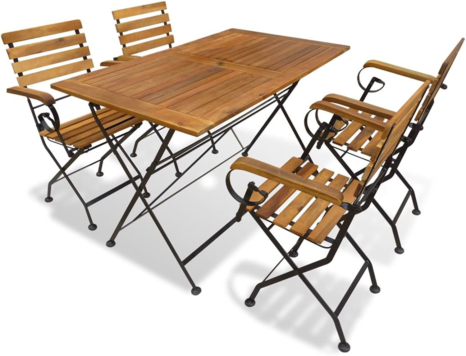 VidaXL Outdoor Dining Set 5 Piece Acacia Wood Patio Foldable Table Chairs