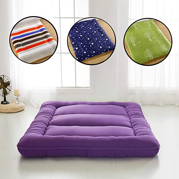 Sleeping Tatami Floor Mat Foldable Futon Tatami Mattress Soft Thick Japanese Student Dormitory Mattress Pad Purple Queen