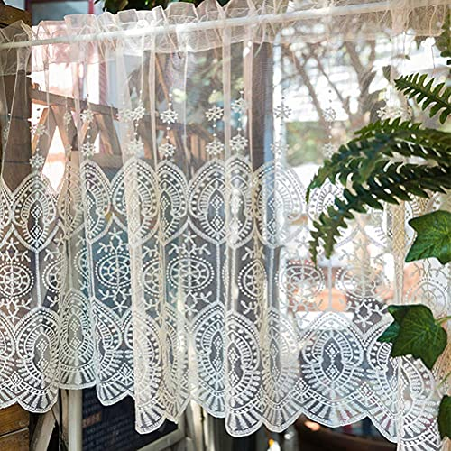 Voile Kitchen Curtains/Handmade Half Curtains Cafe Curtains Sheer Tier Short Window Valance Natural Embroidered Short Curtain for Fireplace Bedroom Door Tulle Windows White Small Curtain 1pcs