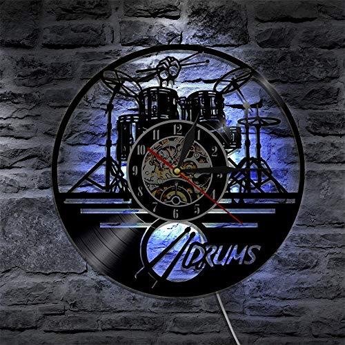 Njuxcnhg Schallplatte Wanduhr-Schlagzeug Design Silhouette LED Hintergrundbeleuchtung Modern Light Musikinstrument Wanduhr Wohnzimmer Dekor Lampe Fernbedienung