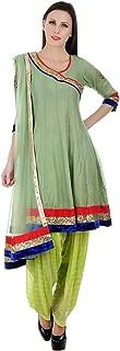 Devaleena Creations Green Chanderi Short Anarkali-Peacock embroidery on the sleeves for Ladies