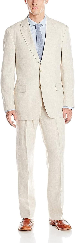 Palm Beach Men's Baxter Natural Linen Two-Button Center Vent Suit