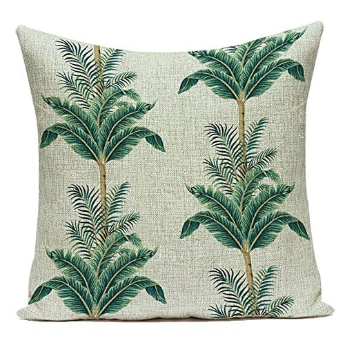 Fundas de Cojín Funda de Almohada Decorativa Planta Verde Tropical Hoja de Palma Monstera Sofá de Lino de algodón Decoración de Sala de Estar del hogar Funda de Almohada