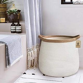 "Goodpick Wicker Basket | 17.71"" x 17.71""Boho Laundry Basket Storage Basket for Toys, Towels, Blankets Farmhouse Weave Rope..."