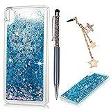 Carcasa Sony Xperia E5, Funda Silicona TPU Bling Lentejuelas Arenas movedizas Cubierta Glitter Sparkle Brillar Claro Cristal Bumper Case Cover Moda Tapa Transparente Caja Corazón Estrella Azul