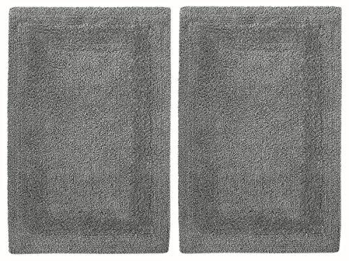 Cotton Craft 2 Piece Reversible Step Out Bath Mat Rug Set 17x24 Navy, 100% Pure Cotton, Super Soft,...