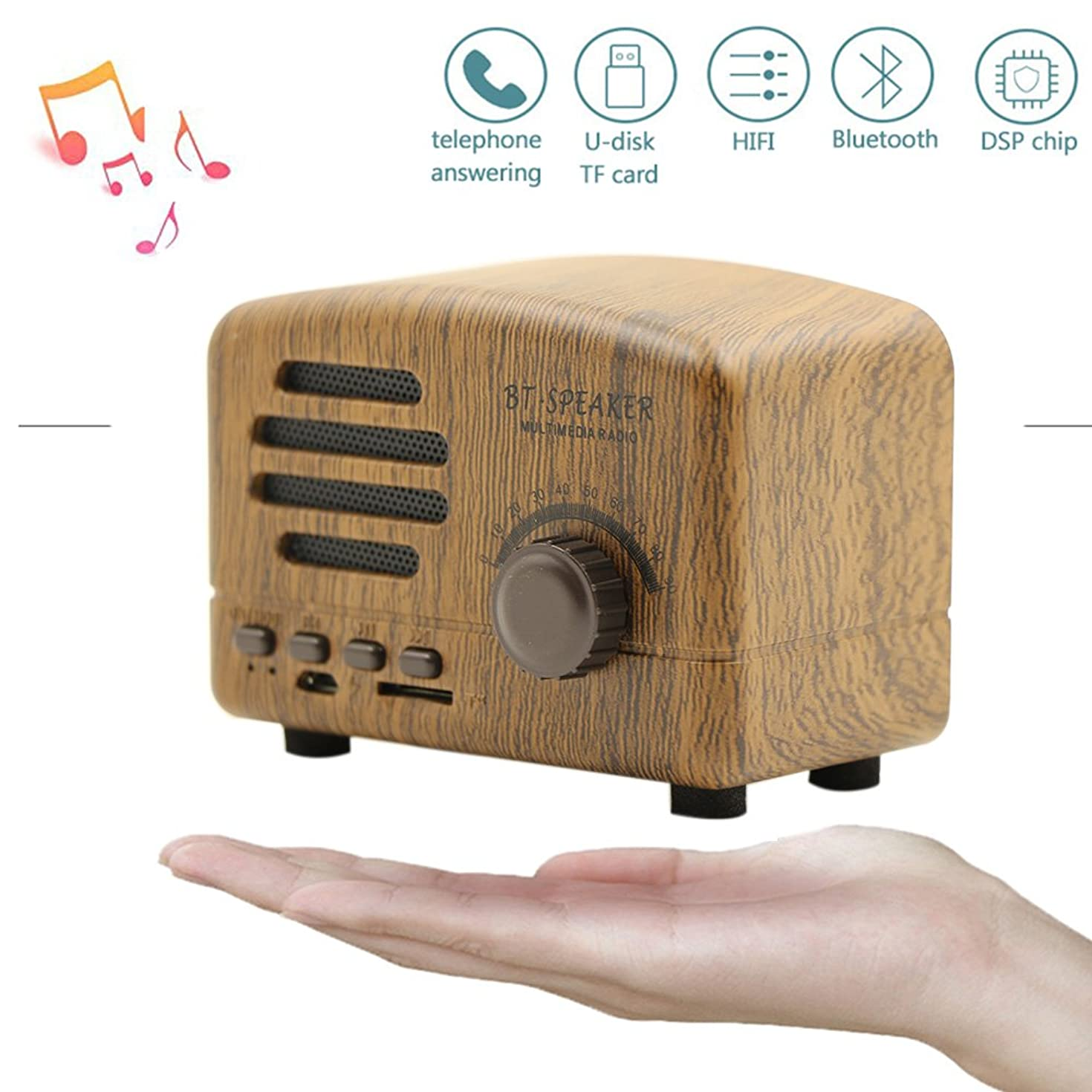 Portable Bluetooth Stereo Speaker,Langxian Enhanced Bass Retro Wireless Vintage V4.0 Speaker with TF Card Slot For Travel, Home, Beach, Kitchen, Outdoors