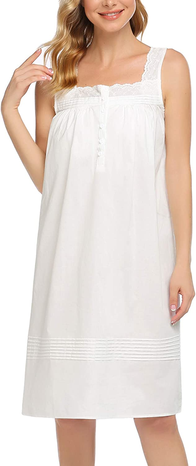 DREZZED Cotton Nightgowns for Women Sleeveless Sleepwear Comfy Sleepshirt with Buttons and Lace Straps S-XXL